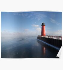 Lighthouse and Sea Smoke Poster