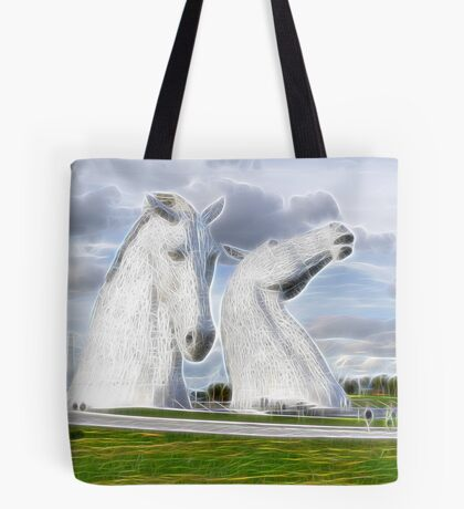 the Kelpies neon glow  , Helix Park , Grangemouth  Tote Bag