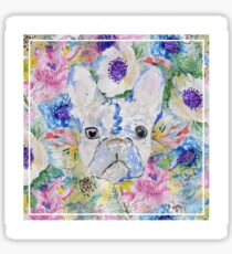 Abstract French bulldog floral watercolor paint Sticker