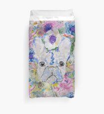 Funda nórdica Pintura de acuarela floral abstracto bulldog francés