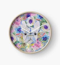 Abstract French bulldog floral watercolor paint Clock