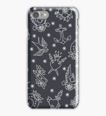 doodle pattern. traditional tattoo flash illustration iPhone Case/Skin