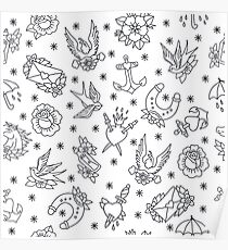 doodle pattern. traditional tattoo flash illustration Poster