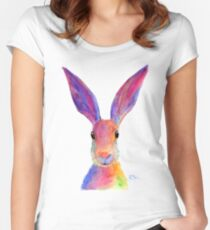 HAPPY HARE 'JELLY BEAN' BY SHIRLEY MACARTHUR Women's Fitted Scoop T-Shirt
