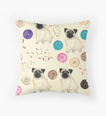 Pugs and donuts Throw Pillow