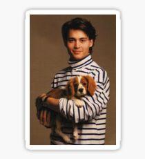 Johnny Depp with Puppy Sticker