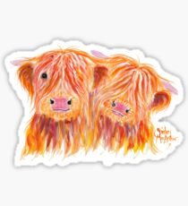 HIGHLAND COWS 'BUDDIES' By Shirley MacArthur Sticker