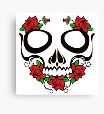 Skull with roses illustration Canvas Print