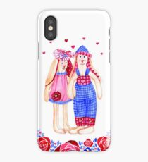Watercolor wedding rabbits iPhone Case/Skin