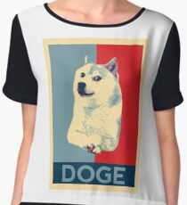DOGE - doge shepard fairey poster with dog red / blue Women's Chiffon Top