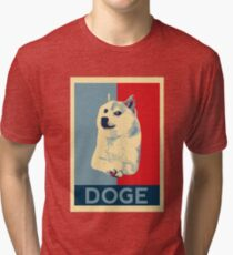 DOGE - doge shepard fairey poster with dog red / blue Tri-blend T-Shirt