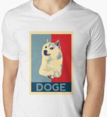 DOGE - doge shepard fairey poster with dog red / blue Mens V-Neck T-Shirt