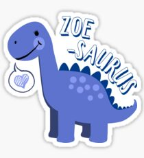 Zoe Saurus Dinosaur Name - Fun Cute Personalized Sticker