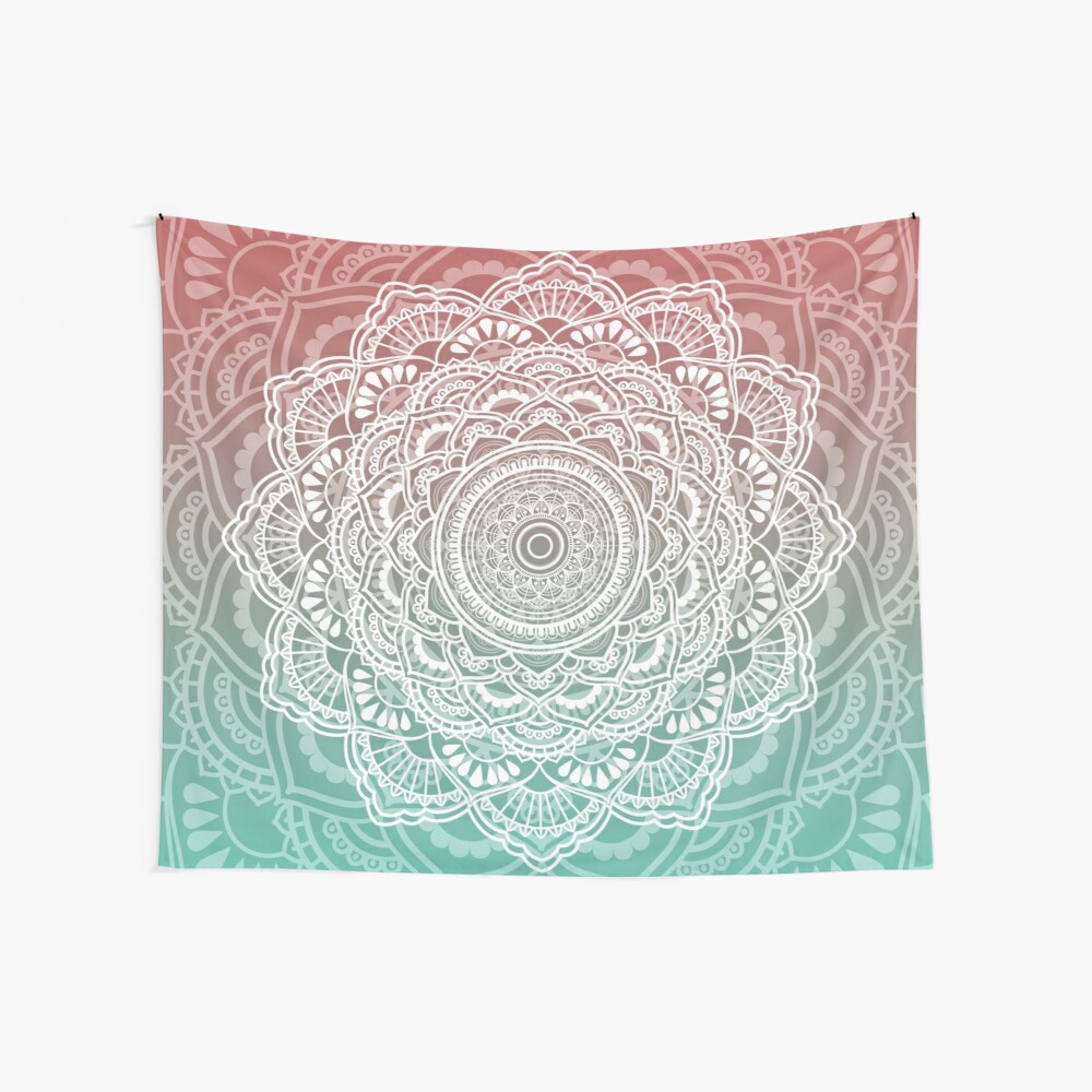 Muted Peach and Turquoise Tapestry Wall Tapestry