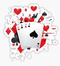 Four Aces Cards Poker Hand Colors Splash Sticker