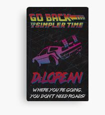Retro Back to the Future Travel Poster Canvas Print