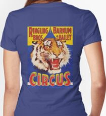 TIGER, Growl, Circus Poster, Ringling Bros, Circus, Animal, Vintage, Poster, Women's Fitted V-Neck T-Shirt