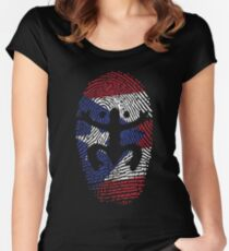 Coqui Puerto Rico Flag Identity Finger Print Women's Fitted Scoop T-Shirt