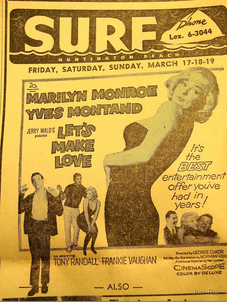The Surf Theater Movie listing circa 1961 by Joni  Rae
