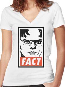 Dwight Schrute FACT Women's Fitted V-Neck T-Shirt