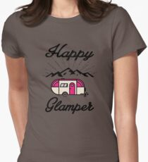 HAPPY GLAMPER CAMPER CAMPING HIKING RV RECREATIONAL VEHICLE MOUNTAINS Womens Fitted T-Shirt