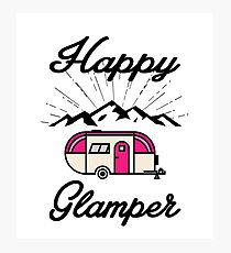 HAPPY GLAMPER CAMPER CAMPING HIKING RV RECREATIONAL VEHICLE MOUNTAINS Photographic Print