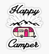 HAPPY CAMPER CAMPING HIKING RV RECREATIONAL VEHICLE MOUNTAINS Sticker