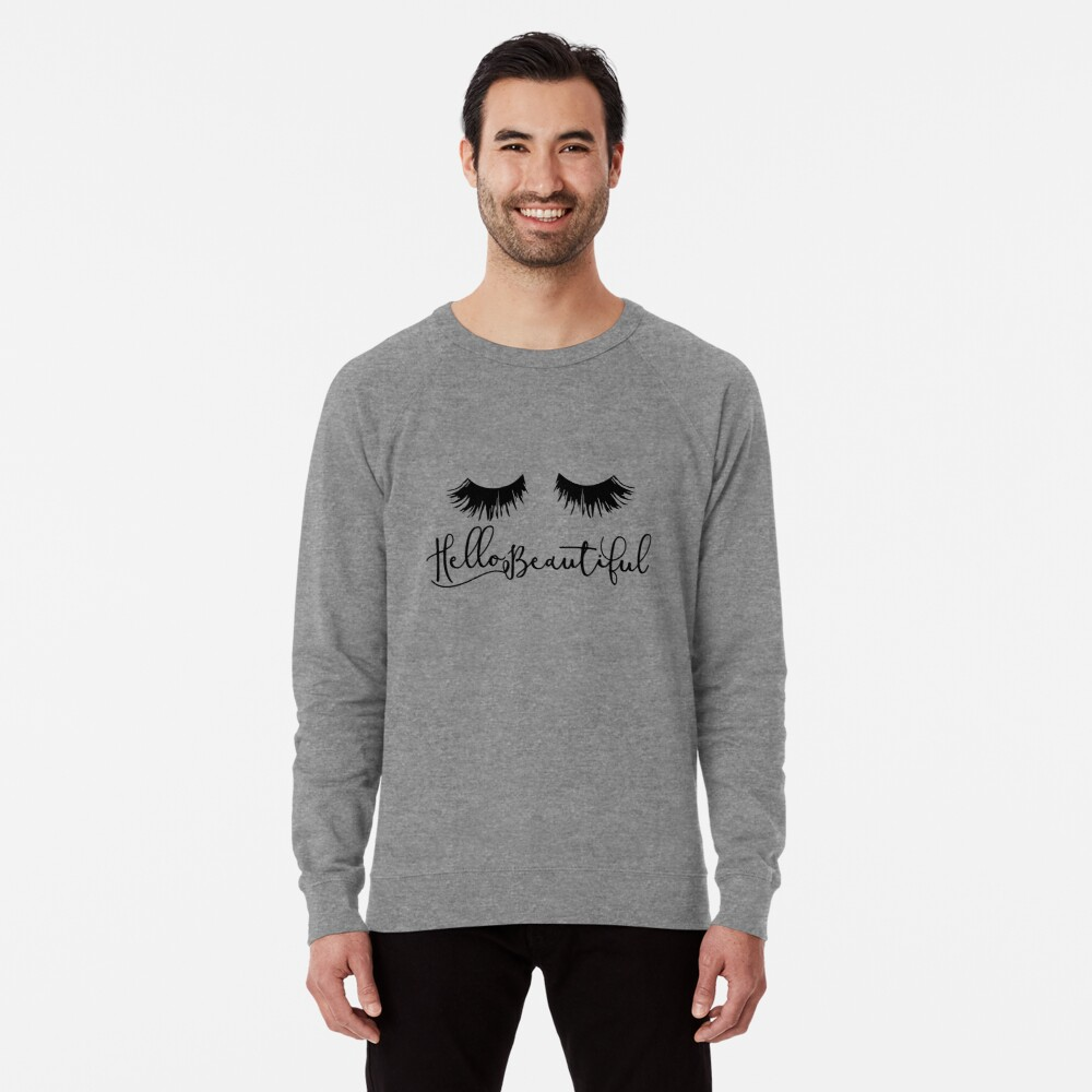 Hallo schön - Wimpern drucken Leichter Pullover