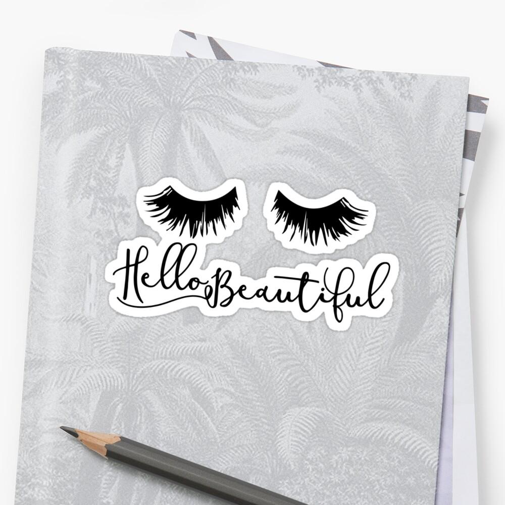 Hallo schön - Wimpern drucken Sticker