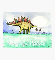 Stegosaurus Flowers Photographic Print