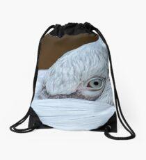 Closeup of the eye of a pelican Drawstring Bag