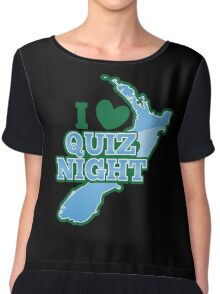 I love QUIZ Night with New Zealand Map Chiffon Top