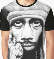 Wu Tang Clan RZA Portrait Charcoal Pencil Graphic T-Shirt