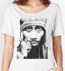 Wu Tang Clan RZA Portrait Charcoal Pencil Women's Relaxed Fit T-Shirt