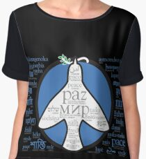 Peace in languages and symbols Women's Chiffon Top