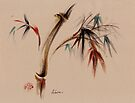 Harvest - sumie zen bamboo mixed media wash painting by Rebecca Rees