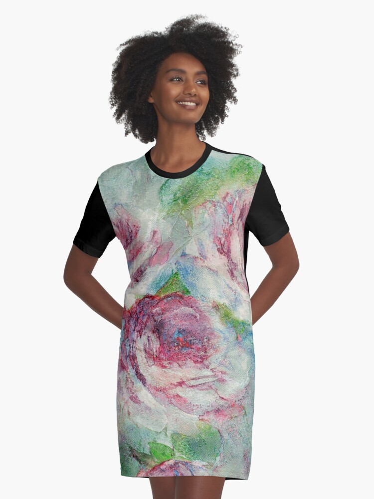 Memories of Roses Graphic T-Shirt Dress Front