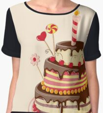 Valentine Day with cake Women's Chiffon Top