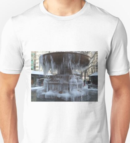 Icicles on a Frozen Water Fountain, Bryant Park, New York City T-Shirt
