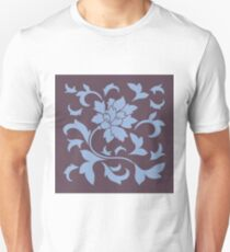 Oriental Flower - Cherry Chocolate and Serenity Blue T-Shirt