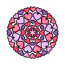 Pink and Purple hearts mandala by Tabitha Barnett
