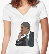 Barack Obama Computer Cartoon  Women's Fitted V-Neck T-Shirt