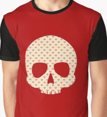 Head Skull Hearts Pattern Funny Valentine Gift Design Graphic T-Shirt