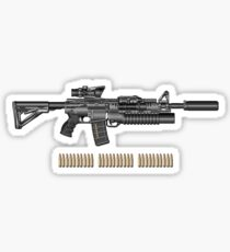 Colt M4A1 SOPMOD Carbine with 5.56 NATO Rounds on Red Velvet  Sticker