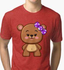 Brown Bear Girl Kawaii Tri-blend T-Shirt