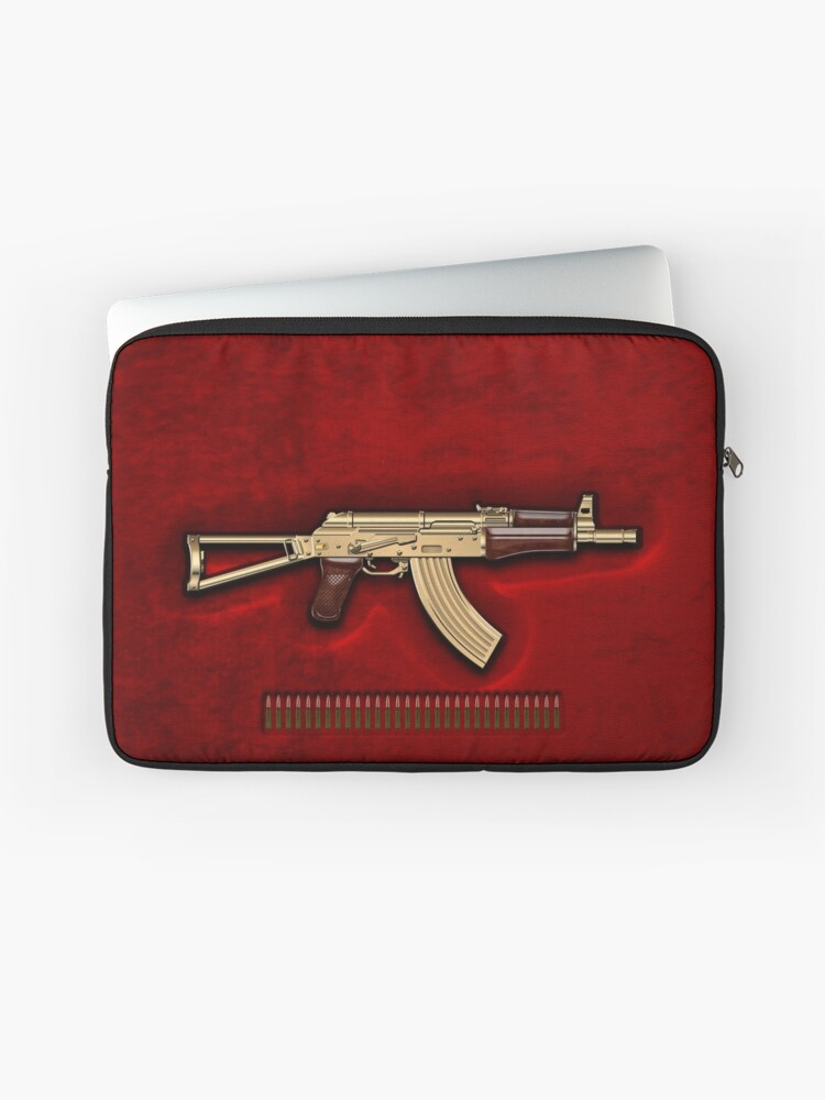 Gold AKS-74U Assault Rifle with 5 45x39 Rounds over Red Velvet | Laptop  Sleeve