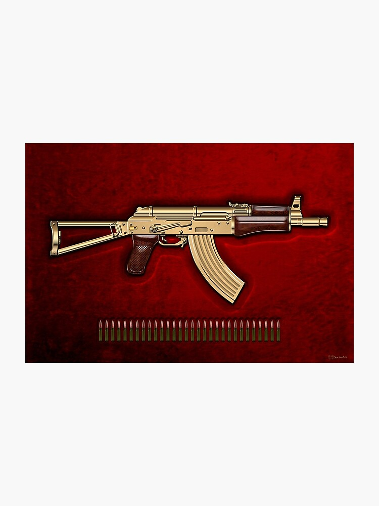 Gold AKS-74U Assault Rifle with 5 45x39 Rounds over Red Velvet |  Photographic Print