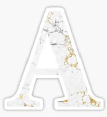 A - Alpha White Gold Foil Marble Sticker