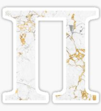 Pi - Gold Foiled White Marble Sticker