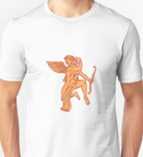 Cupid Bow Drawing Arrow Mono Line T-Shirt